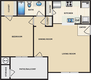 A - One Bedroom / One Bath - 716 Sq. Ft.*