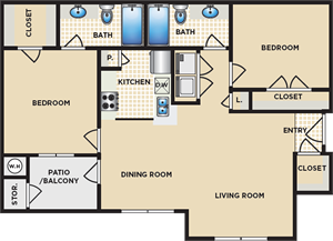 B - Two Bedroom / Two Bath - 907 Sq. Ft.*